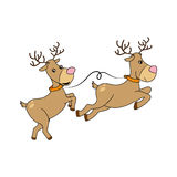 Color silhouette with reindeers couple Royalty Free Stock Photos