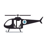 Color silhouette with rescue helicopter. Vector illustration stock illustration