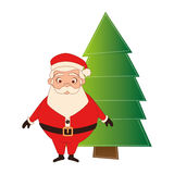 Color silhouette with santa claus and christmas tree Royalty Free Stock Photos