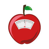 Color silhouette with scales for weight control in shape of apple Stock Photos