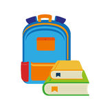 Color silhouette with school briefcase and books Royalty Free Stock Photography