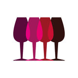 Color silhouette with set of glass cups Royalty Free Stock Image