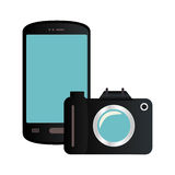 Color silhouette with smartphone and analog camera Royalty Free Stock Photography