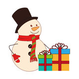 Color silhouette with snowman and gift boxes Royalty Free Stock Images
