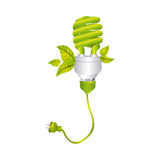 color silhouette with spiral fluorescent lamp with leaves and plug Stock Photos