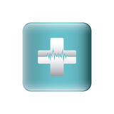 color silhouette with square with cross with line of vital sign Royalty Free Stock Photography