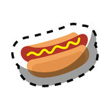 Color silhouette sticker of hot dog with sauce Royalty Free Stock Photos