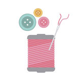 Color silhouette with thread spool and sewing needle and buttons Royalty Free Stock Image