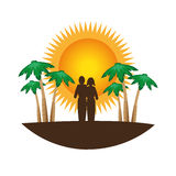 Color silhouette with tropical landscape Stock Photos