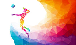 Color silhouette of volleyball player on attack position vector illustration