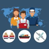 Color silhouette world map background with icons people logistics and transport vehicles. Vector illustration Stock Photography