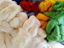Color of silk yarns. Silk production process Royalty Free Stock Image