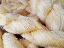 Color of silk yarns. Silk production process Stock Photography