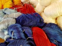 Color of silk yarns. Silk production process Royalty Free Stock Photography