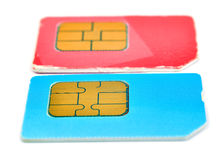 Color sim cards Royalty Free Stock Images
