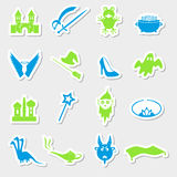Color simple fairy tales theme stickers set Royalty Free Stock Photography