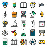 Color simple icon collection. School education. Color simple icon collection - School education. Vector illustration on white background Royalty Free Illustration