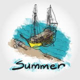 Color sketch of a boat and an inflatable boat moored on a sandy Stock Photos