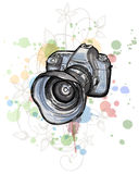 Color sketch of a digital photo camera Royalty Free Stock Photo