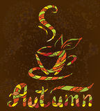 A color sketch of hot cup of autumn coffee Stock Photography