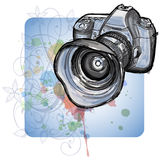 Color sketch of a modern digital photo camera Royalty Free Stock Photo