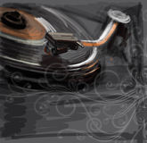 Color sketch of an old turntable & floral ornament Stock Images