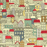 Color sketch of the panorama of the city. Vintage cute houses. Drawing by hand. Vector illustration. Seamless pattern Stock Image