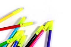 Color sketch pens with white background. Educational concept close up photo royalty free stock images