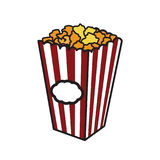Color Sketch popcorn. Vector illustration with Color sketch popcorn. Sketch design. Cinema snack. Hand drawn fast food Royalty Free Stock Images