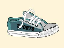 Color sketch of a sneaker Stock Photography