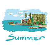 Color sketch of summer camps at the seaside Stock Photography