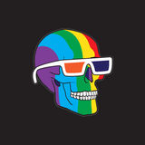 Color Skull. In 3D Glasses Royalty Free Stock Images