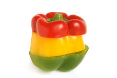 Color slices of bulgarian pepper Royalty Free Stock Photos
