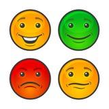 Color Smiley Face Icons Set Vector Imagenes de archivo