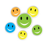 Color smiley faces with reflection Stock Images