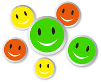 Color smiley faces with reflection Royalty Free Stock Photos