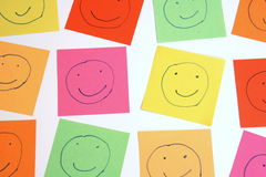 Color smileys. Smileys in all thinkable colors Royalty Free Stock Photos