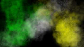 Color smoke. Abstract color swirling smoke clouds on a black background stock footage