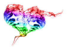 Color smoke heart on white background. A heart with colors smoke texture on a white background Royalty Free Stock Photography