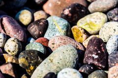 Color snad small pebble. Colorful smalll pebbles on Corsica beach royalty free stock photos