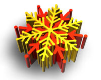 Color snow flake. Render on white background Stock Image