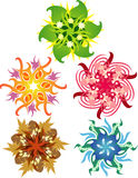 Color snowflakes. Snowflake style designs representing the seasons, elements, and holidays Stock Images