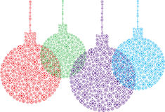 Color snowflakes christmas balls Stock Photos