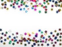 Color snowflakes on white background. Stock Photos