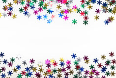 Color snowflakes on white background. Royalty Free Stock Images