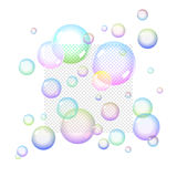 Color Soap bubbles. Set with Transparency vector illustration