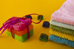 Color soap and towels Royalty Free Stock Photography