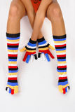 Color socks. Socks and gloves on multi color Stock Photos