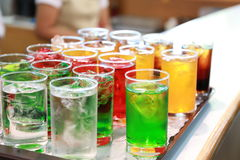 Color soft drink. In tray Royalty Free Stock Photos