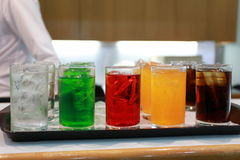 Color soft drink. In tray Stock Photo